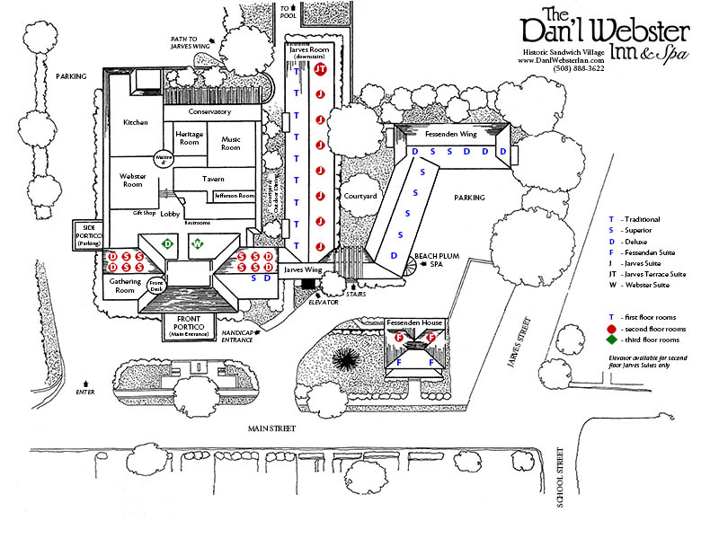 Dan'l Webster Inn & Spa Room Map