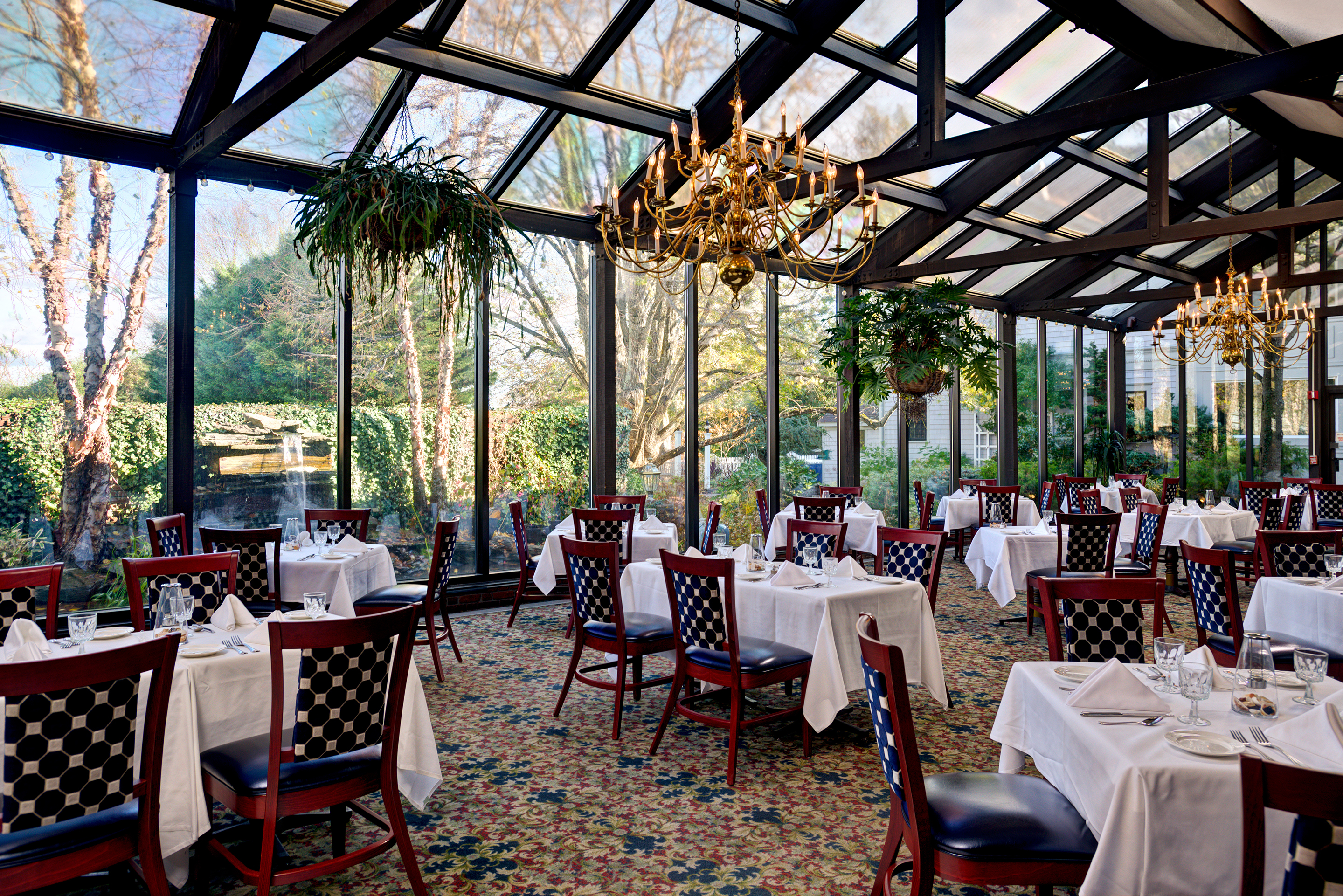 Dining in our Romantic Conservatory